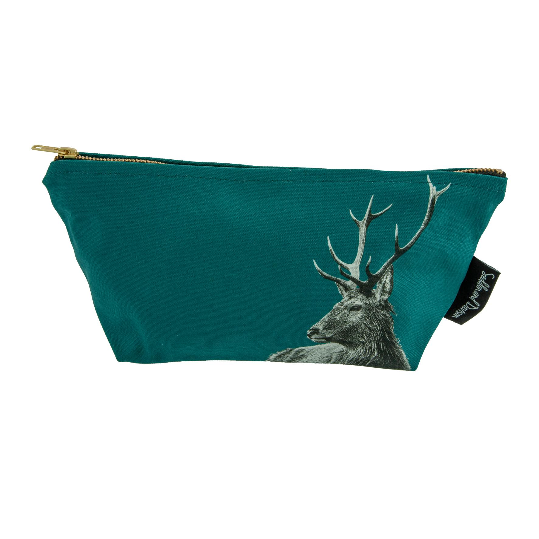 Highland Stag Wash Bag on Teal