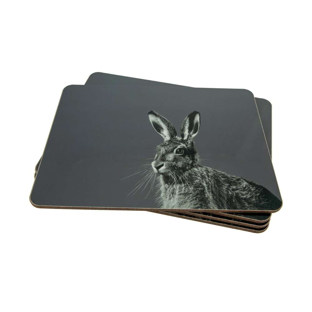 Hare placemat on charcoal