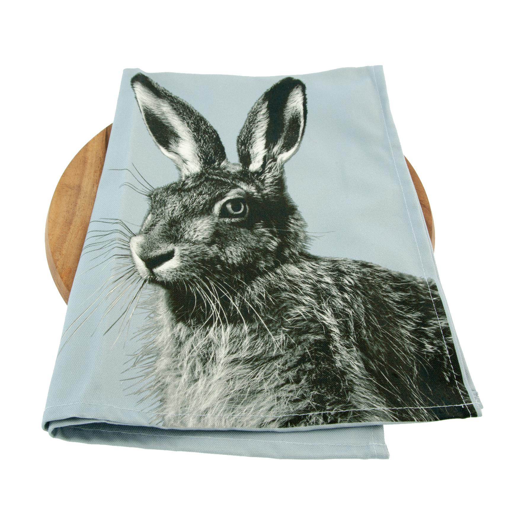 Hare Tea Towel on Pale Grey
