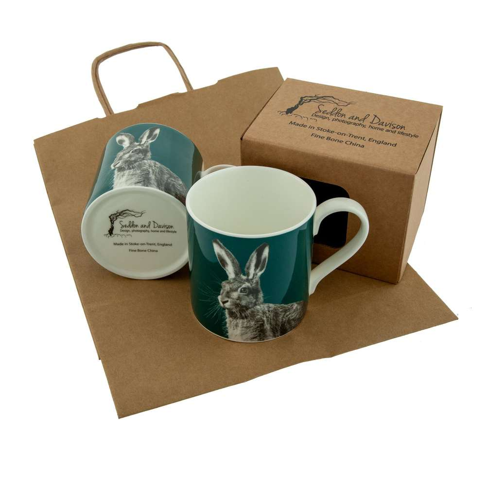 Hare Fine Bone China Mug on Teal