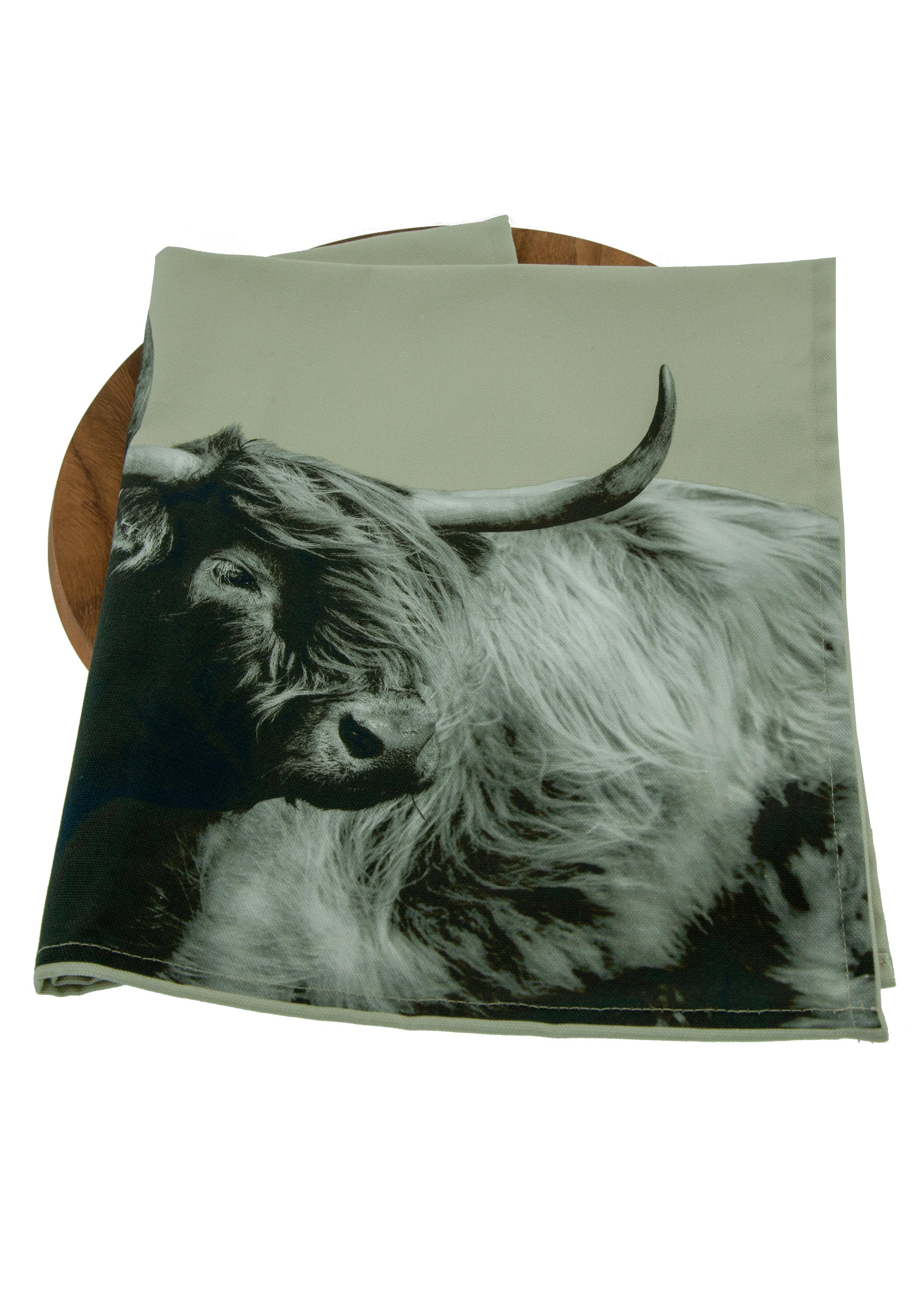 Highland Cow Tea Towel on Sand Grey
