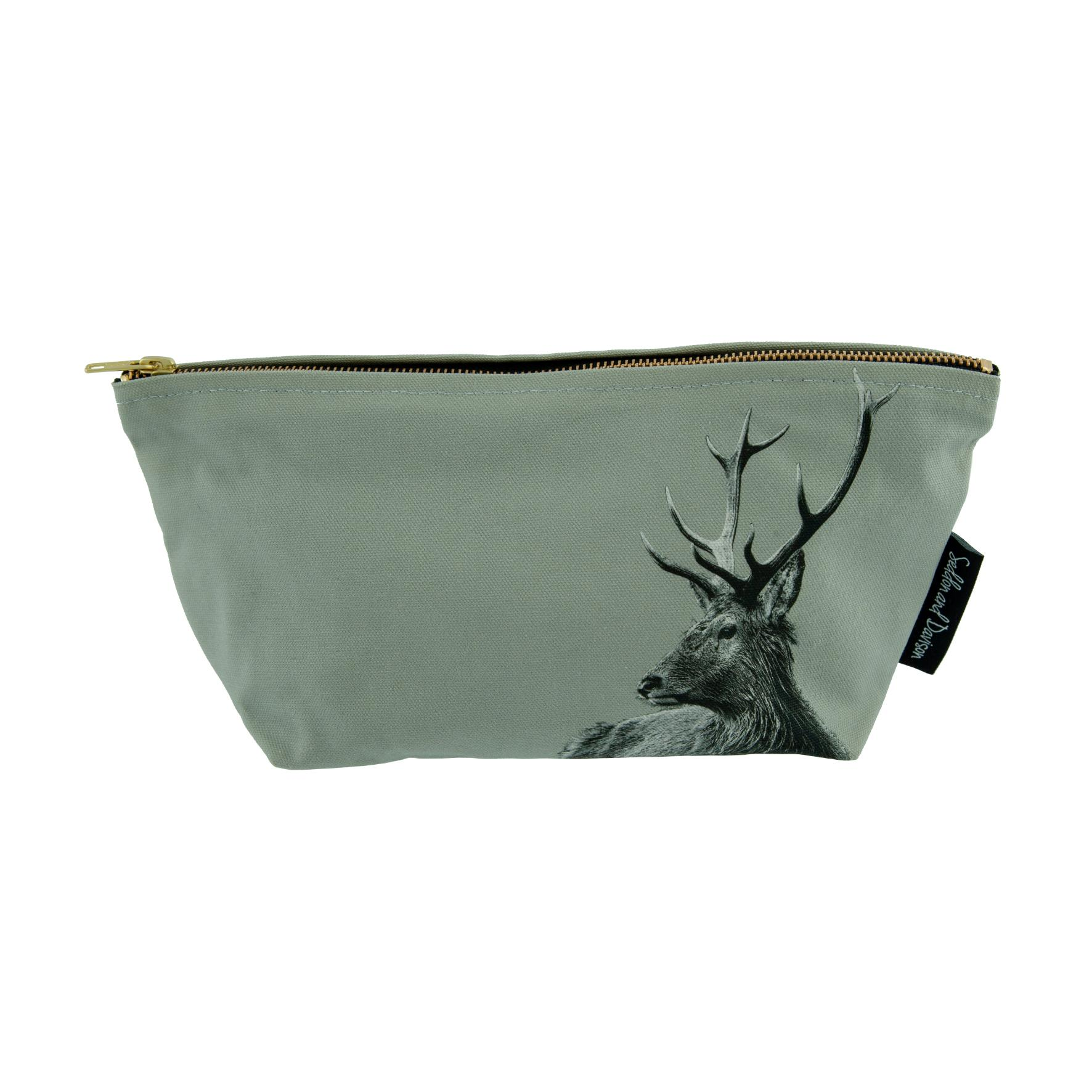 Highland Stag wash bag on sage grey