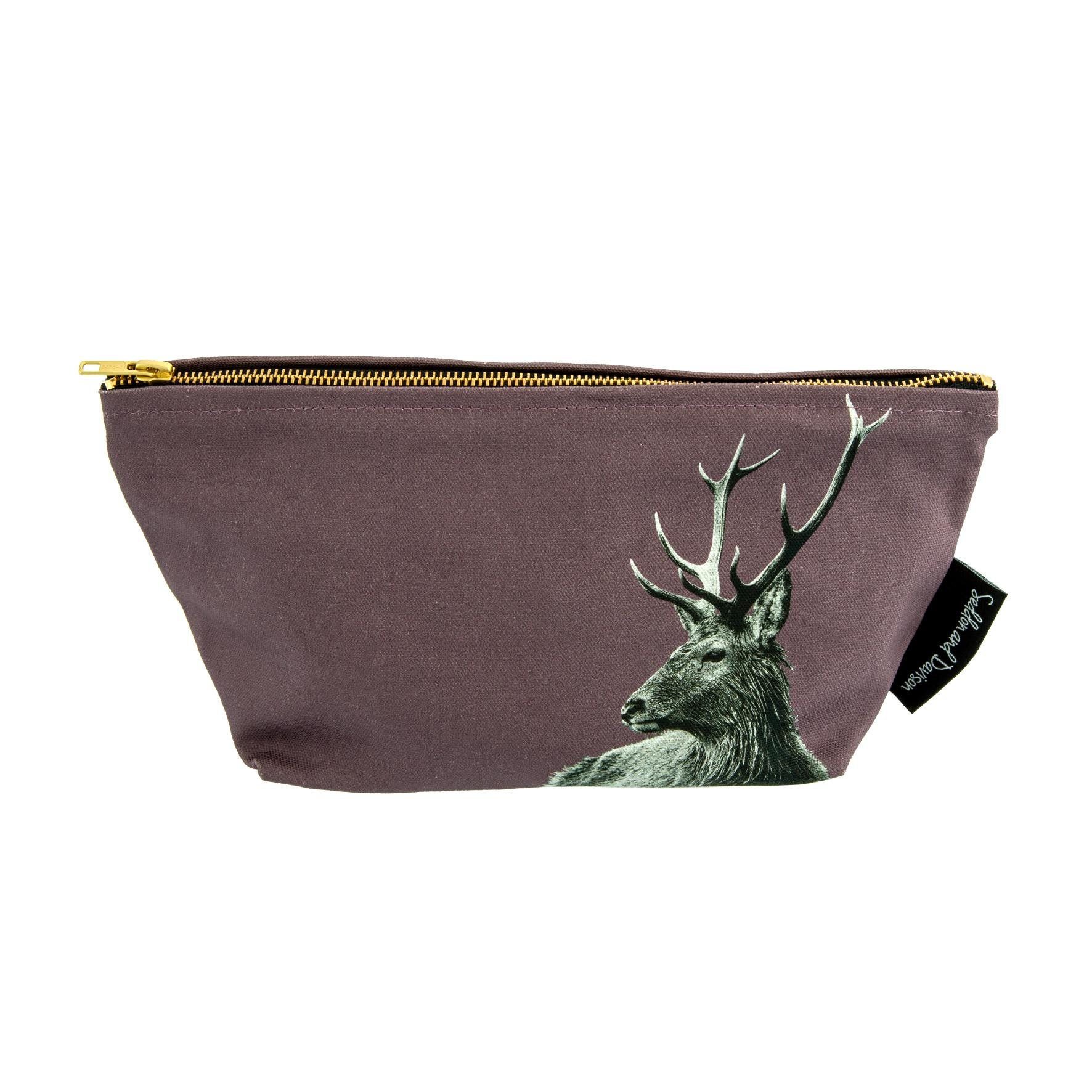Highland Stag Wash Bag on Dusky Pink