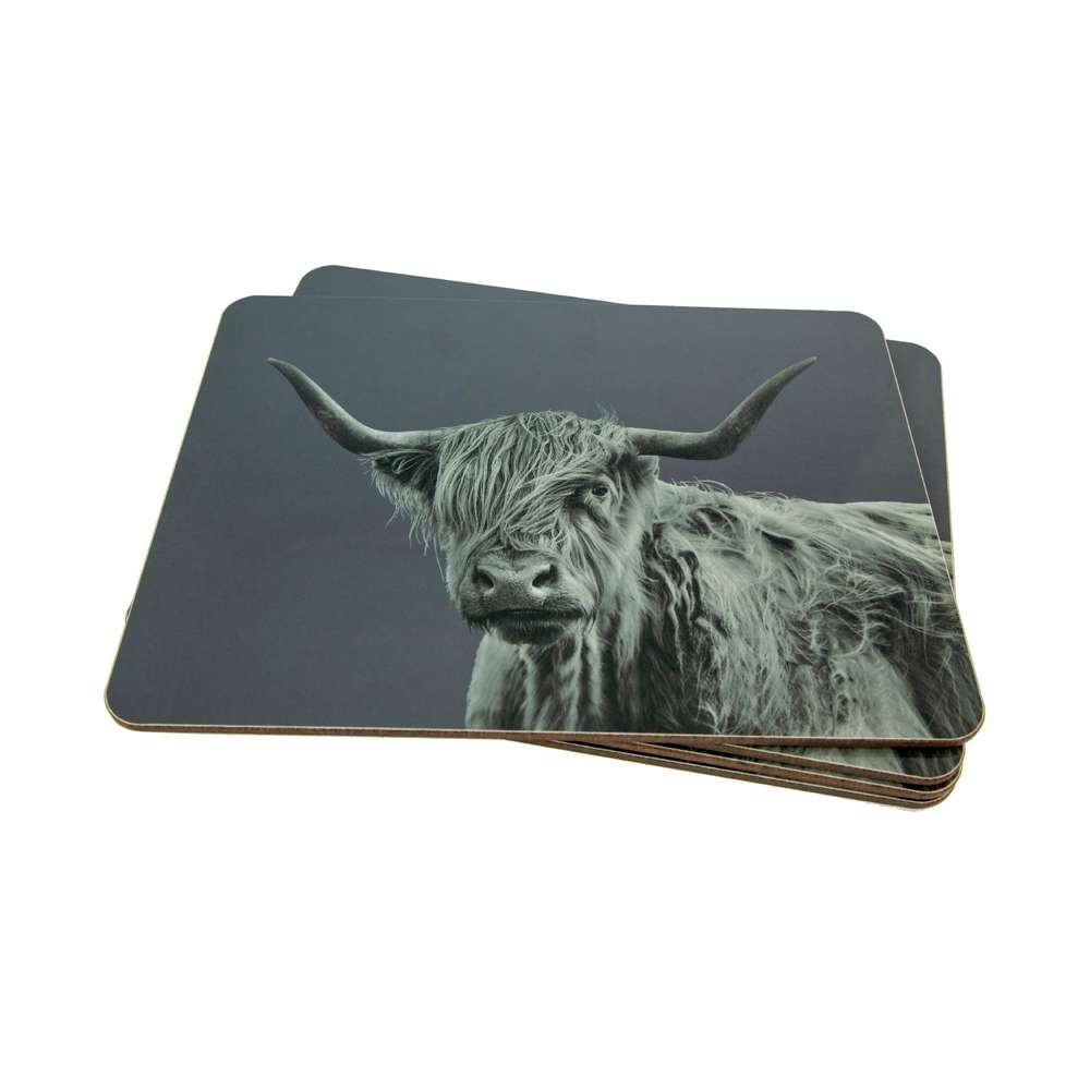Highland Cow Placemat on Charcoal