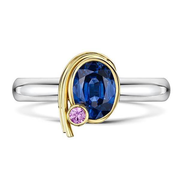 Blue & pink sapphire ring 5279