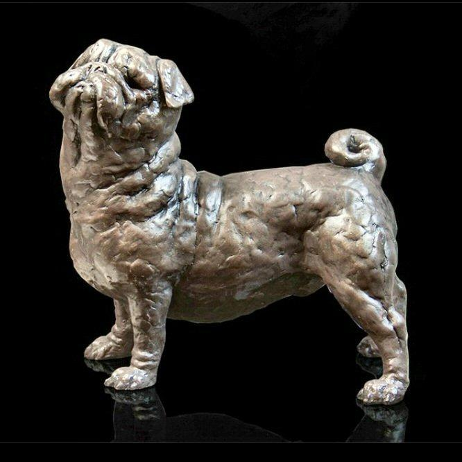 Pancake - Pug (207BR) - Bronze Sculpture by Grant Palmer