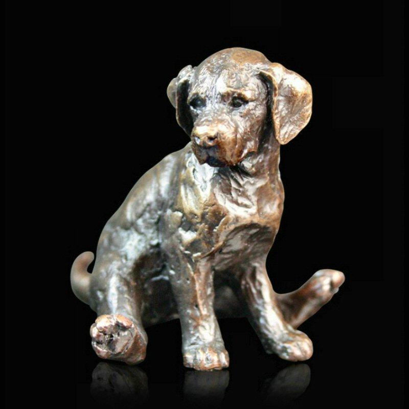 Labrador Puppy Sitting (739) in bronze by Michael Simpson