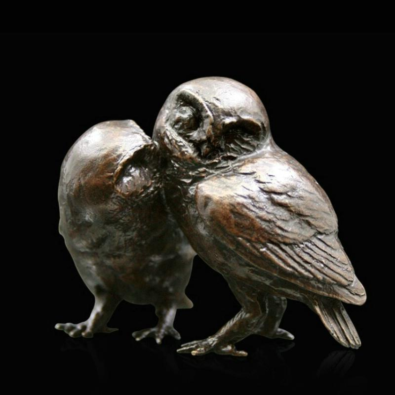 Pair of Little Owls (949) in bronze by Michael Simpson
