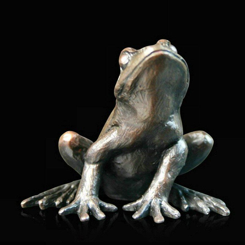 Small Frog Alert (918) - Bronze Sculpture by Keith Sherwin