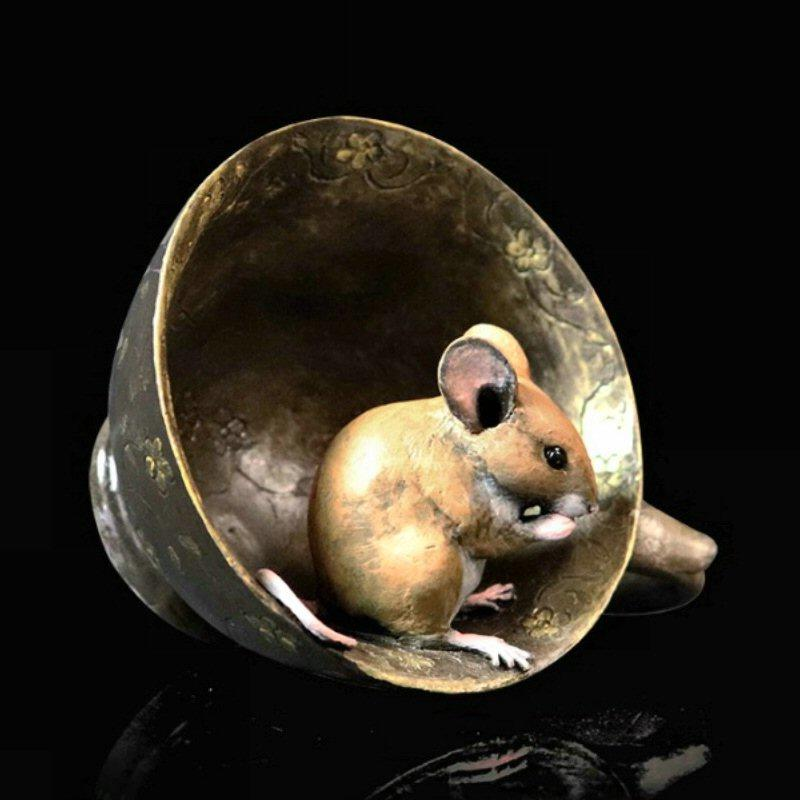 Mouse in Tea Cup - Bronze Sculpture - Michael Simpson - 246BR