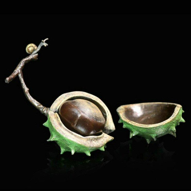 Conker with Snail - Bronze Sculpture - Michael Simpson - Large 1089