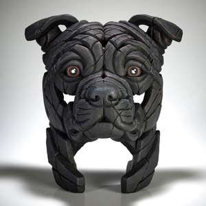 Staffordshire Bull Terrier Bust - Black - EDGE Dog Sculpture EDB27BK