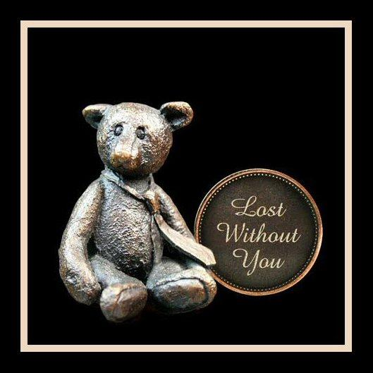 Lost Without You (3001) - Penny Bear range of bronze sculptures