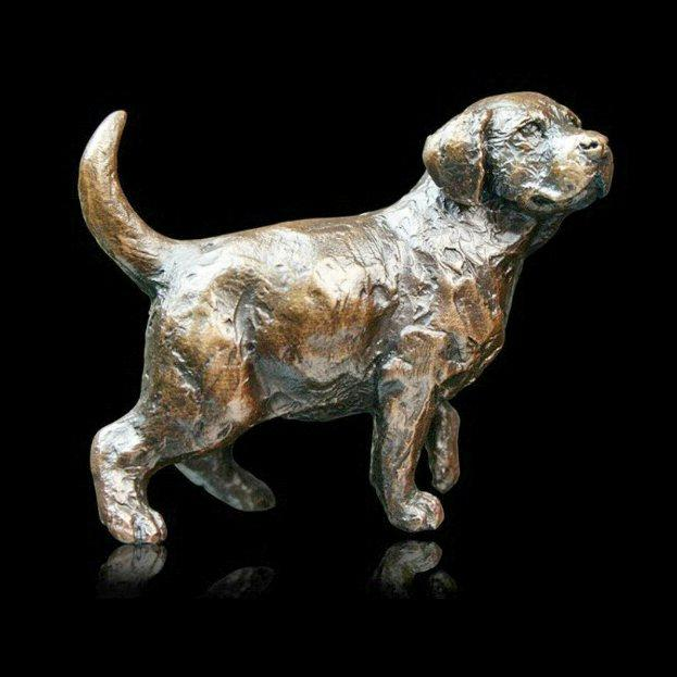 Labrador Puppy Standing (741) in bronze by Michael Simpson