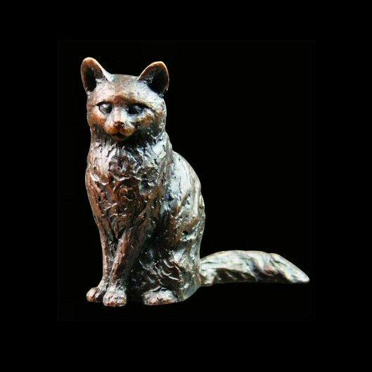 Long Haired Cat (669) in bronze by Michael Simpson