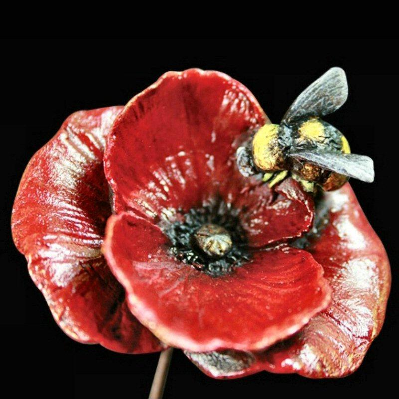 Poppy with Honey Bee - Bronze Sculpture - Keith Sherwin 1059