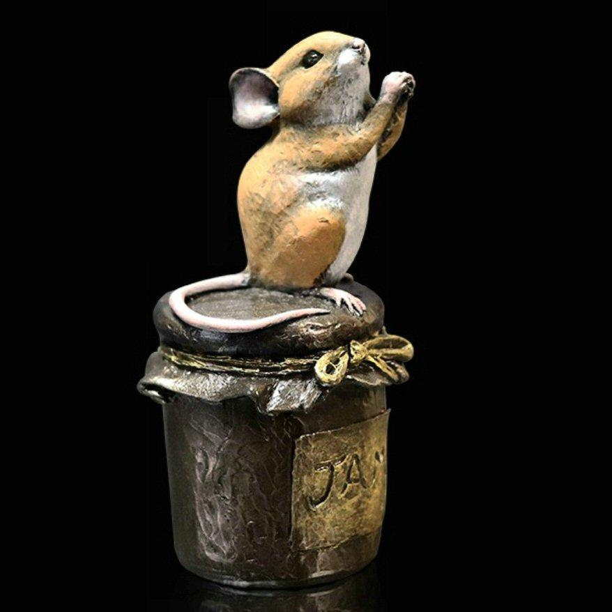 Mouse on Jam Jar - Bronze Sculpture - Michael Simpson - 245BR