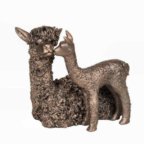 Alpaca with Cria - Bronze Sculpture - Veronica Ballan VB077