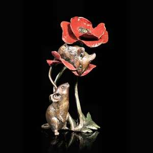 Two Mice with Poppy - Bronze Sculpture - Michael Simpson - 1074