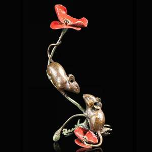 Two Mice with Poppy - Bronze Sculpture - Michael Simpson - 1073