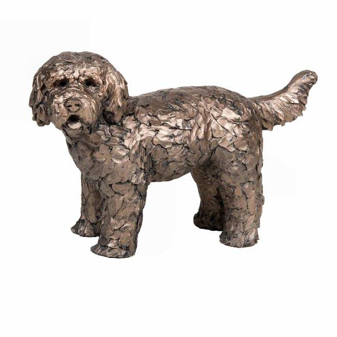 Button - Labradoodle Standing AT034 by Adrian Tinsley