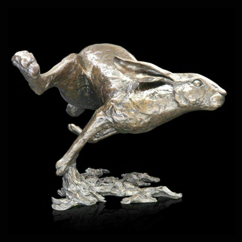Full Pelt - Large Hare Running (942) in bronze by Michael Simpson