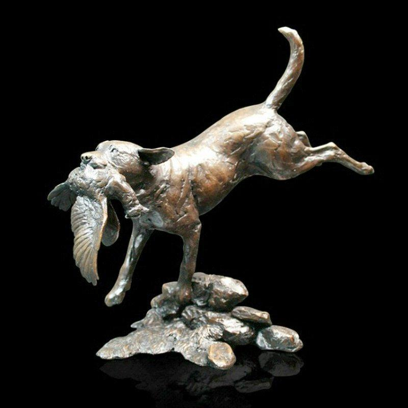 Labrador Retrieving  (753) in bronze by Michael Simpson