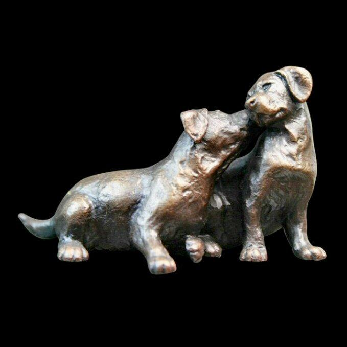 Small Labrador Puppy Pair (844) in bronze by Michael Simpson