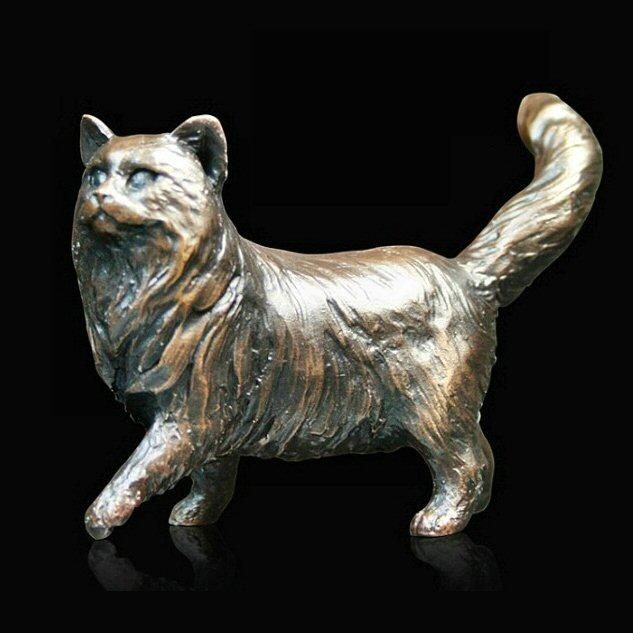 Small Cat Standing - Long Haired (926) in bronze by Michael Simpson