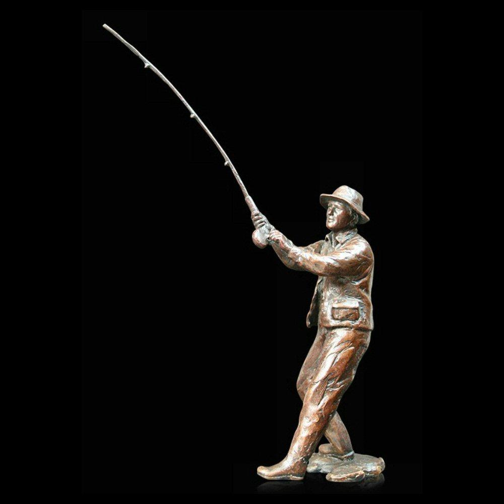 Fly Fishing (912) in bronze by Michael Simpson
