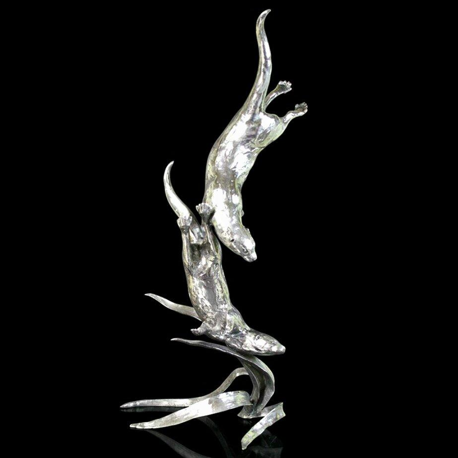 Silver Waters - Large Otter - Stainless Steel (962) by Michael Simpson