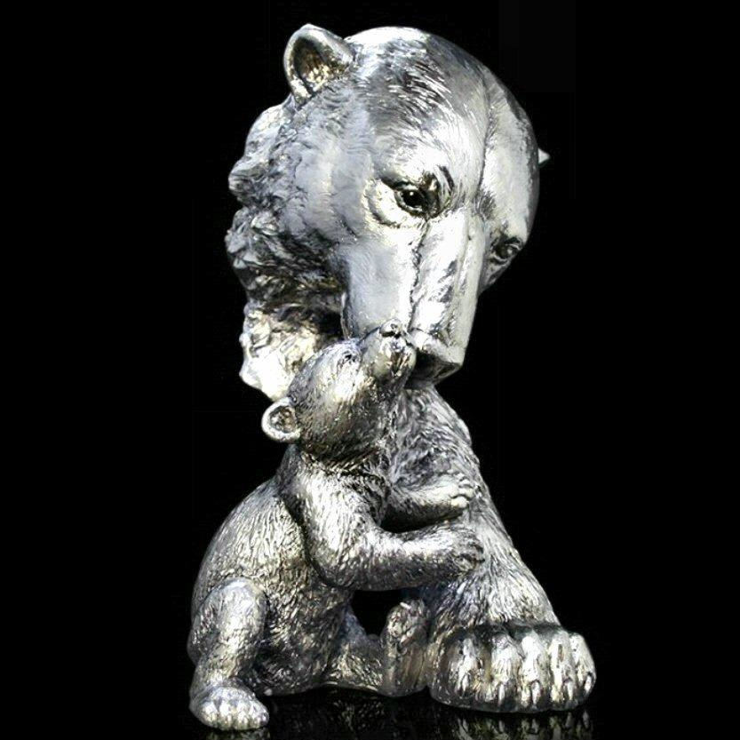 Polar Bear and Cub - Nickel Plated Sculpture - Keith Sherwin 317NP