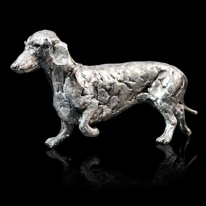 Dachshund - Nickel Plated Dog Sculpture - Michael Simpson - 324NP