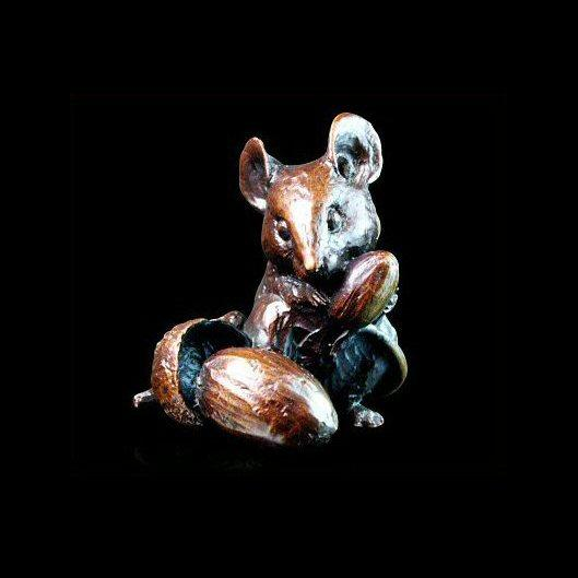 Mouse with Acorns (735) in bronze by Michael Simpson