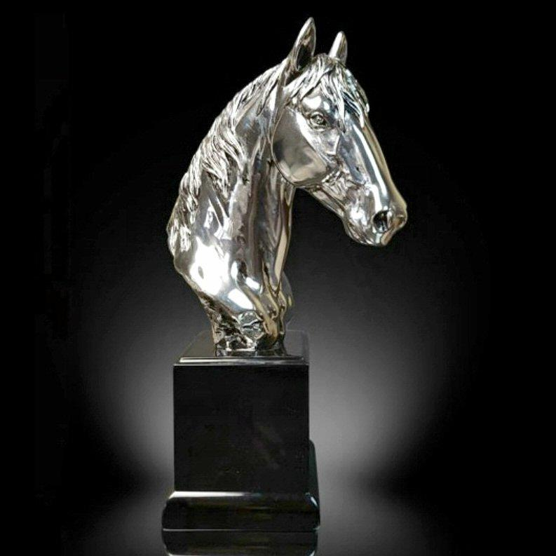 Horse Bust (Medium) - Nickel Plated Sculpture - Justin Zhu 309NP