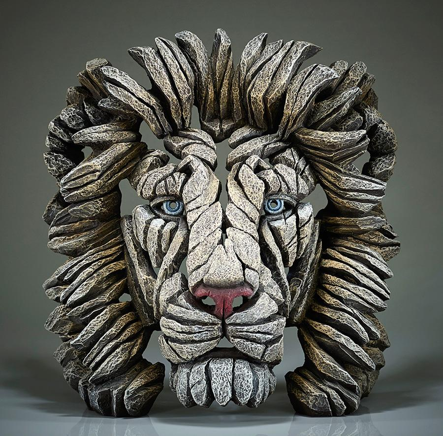 Lion Bust - White - EDGE Sculpture EDB09W