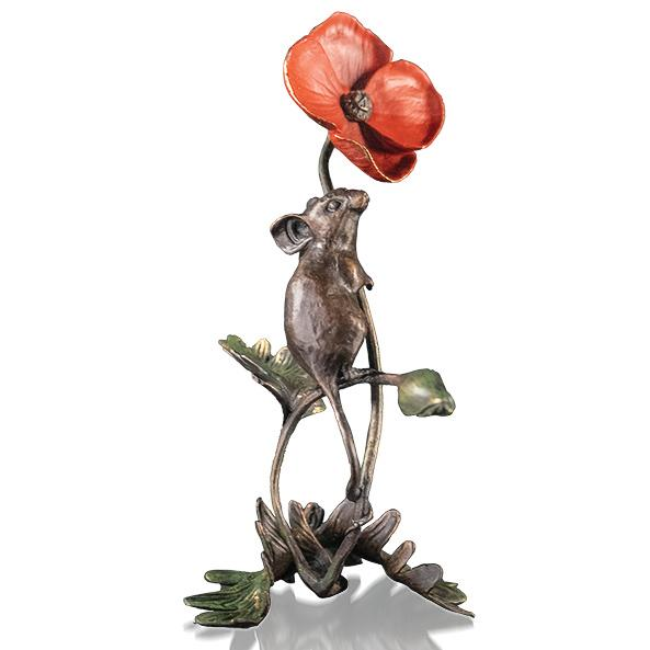 Mouse with Poppy by Michael Simpson - Bronze Sculpture - 1138
