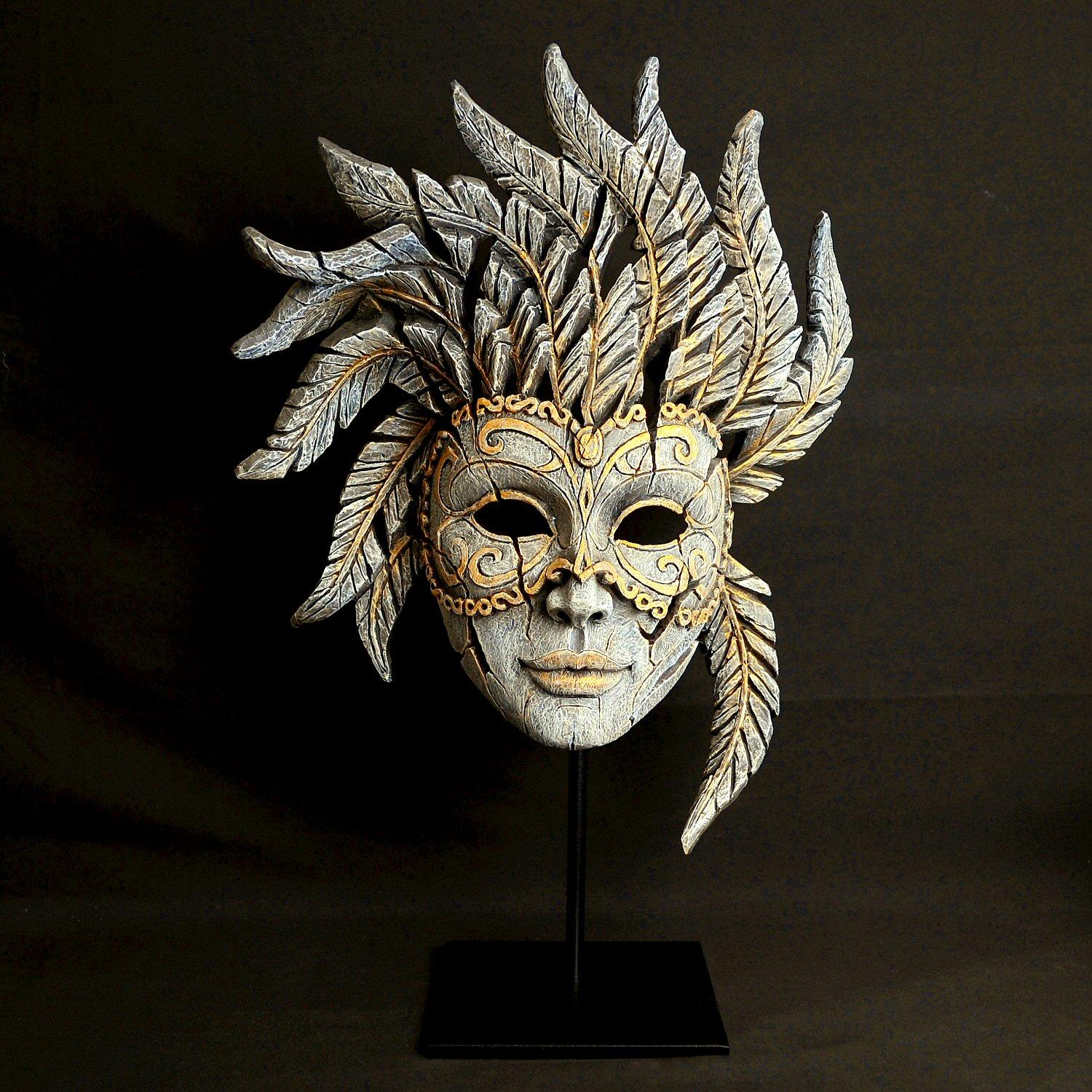 Venetian Carnival Mask - Antique White EDM02W EDGE by Matt Buckley