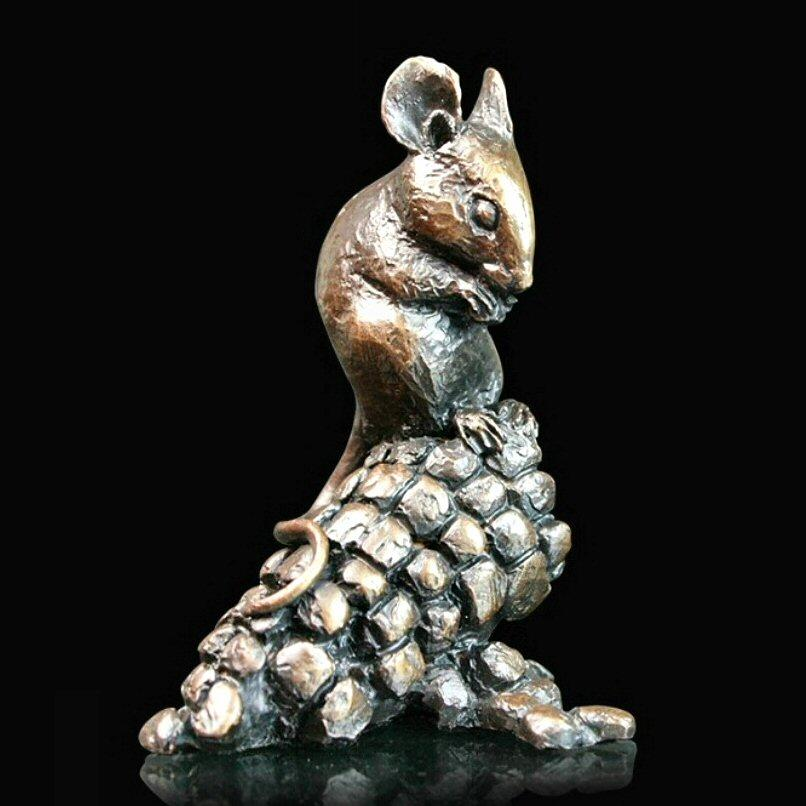 Mouse with Corn  (737) in bronze by Michael Simpson