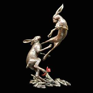 Hares Boxing Bronze Sculpture - Michael Simpson Large 1048