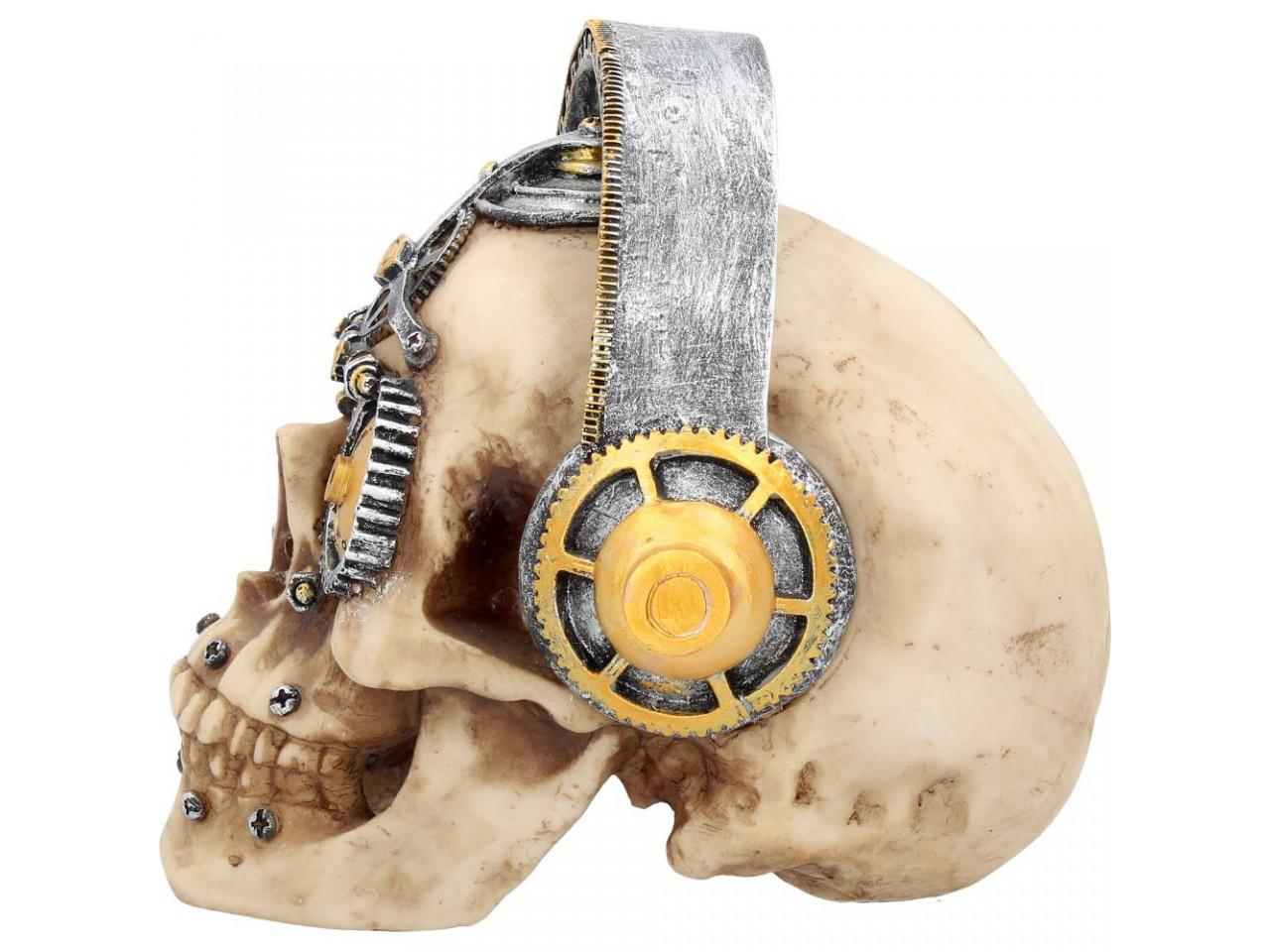 Techno Talk - Large (u2922h7) - steampunk skull sculpture