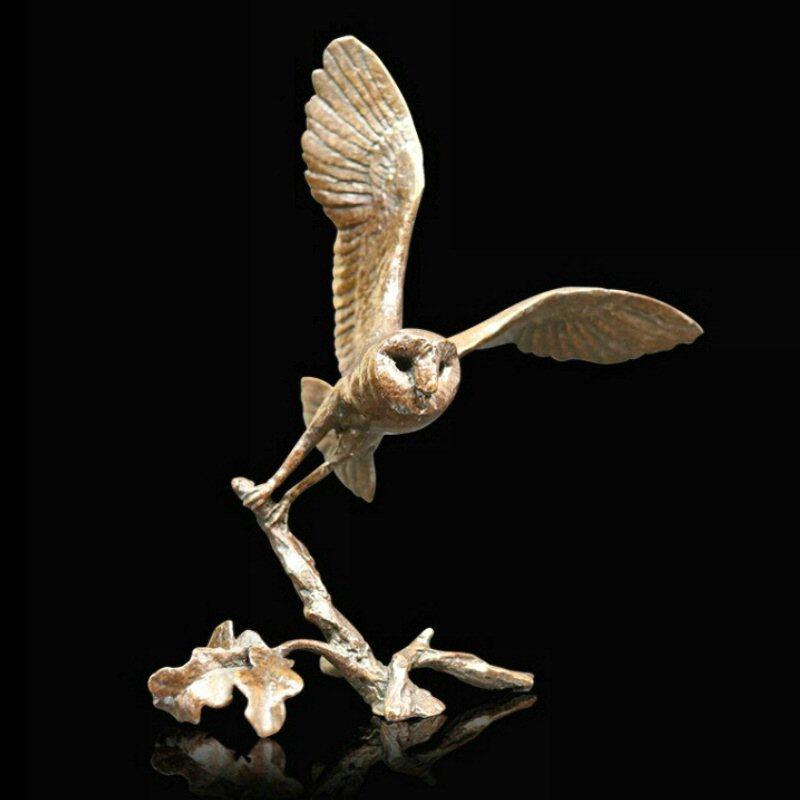 Barn Owl - Bronze Bird Sculpture - Michael Simpson - Small 1079