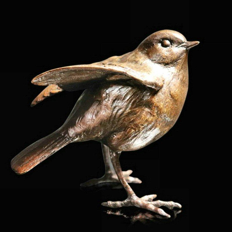 Robin Standing - Bronze Bird Sculpture - Michael Simpson - 1026