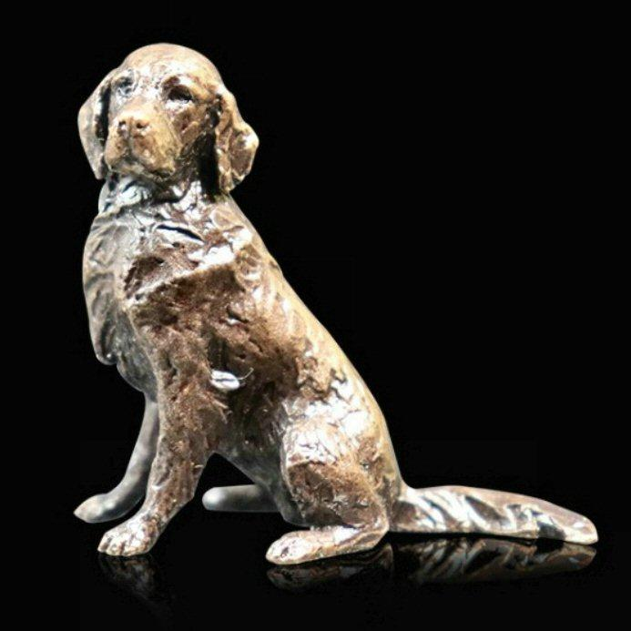 Retriever Sitting - Miniature Bronze Dog Sculpture - Butler & Peach 2087