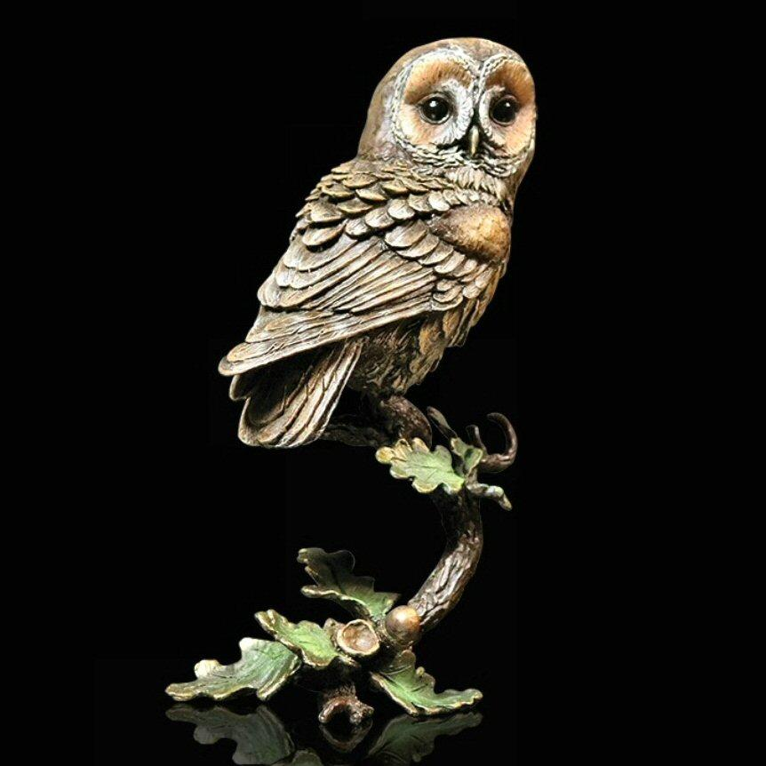 Tawny Owl with Acorns - Bronze Sculpture by Keith Sherwin 1083