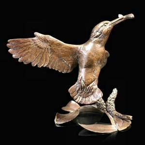 The Catch - Kingfisher - Bronze Bird Sculpture - Michael Simpson 1087