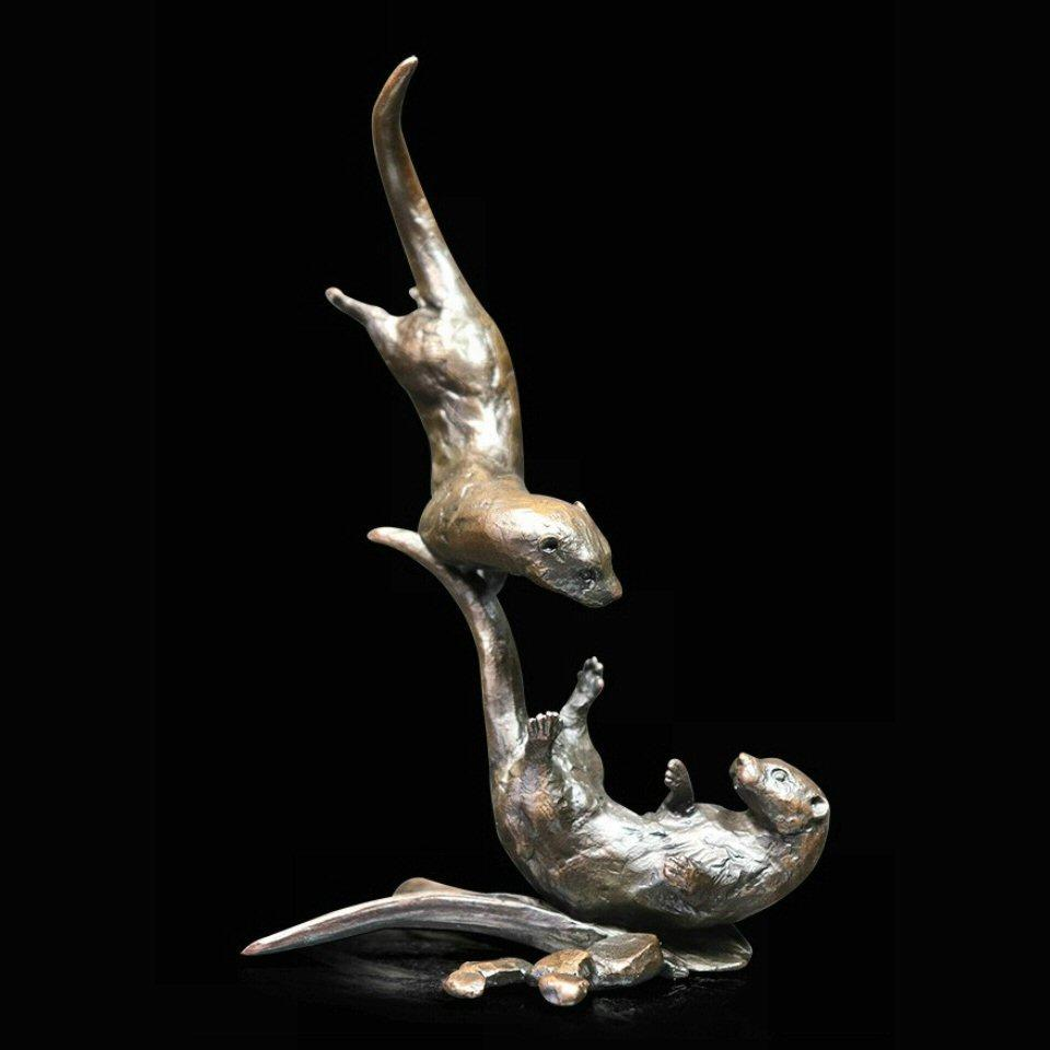 Otters Tumbling - Bronze Sculpture - Michael Simpson - 1052