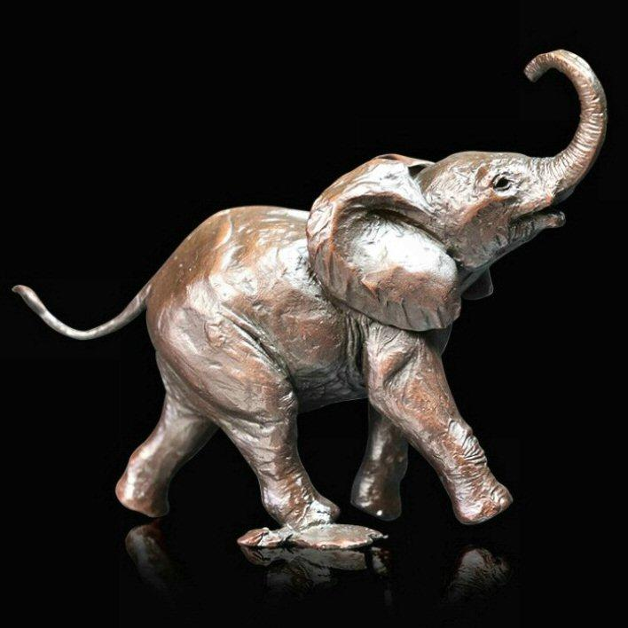 Baby Elephant Running - Bronze Sculpture - Michael Simpson - 1063