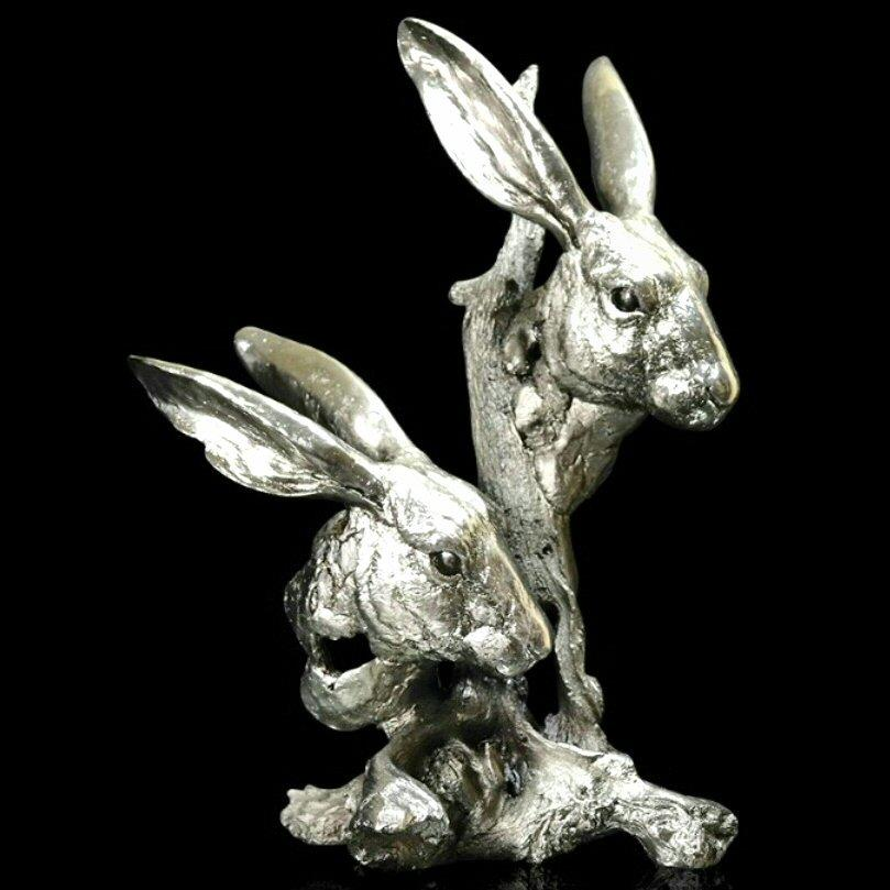 Hares - Nickel Plated Sculpture - Keith Sherwin 320NP