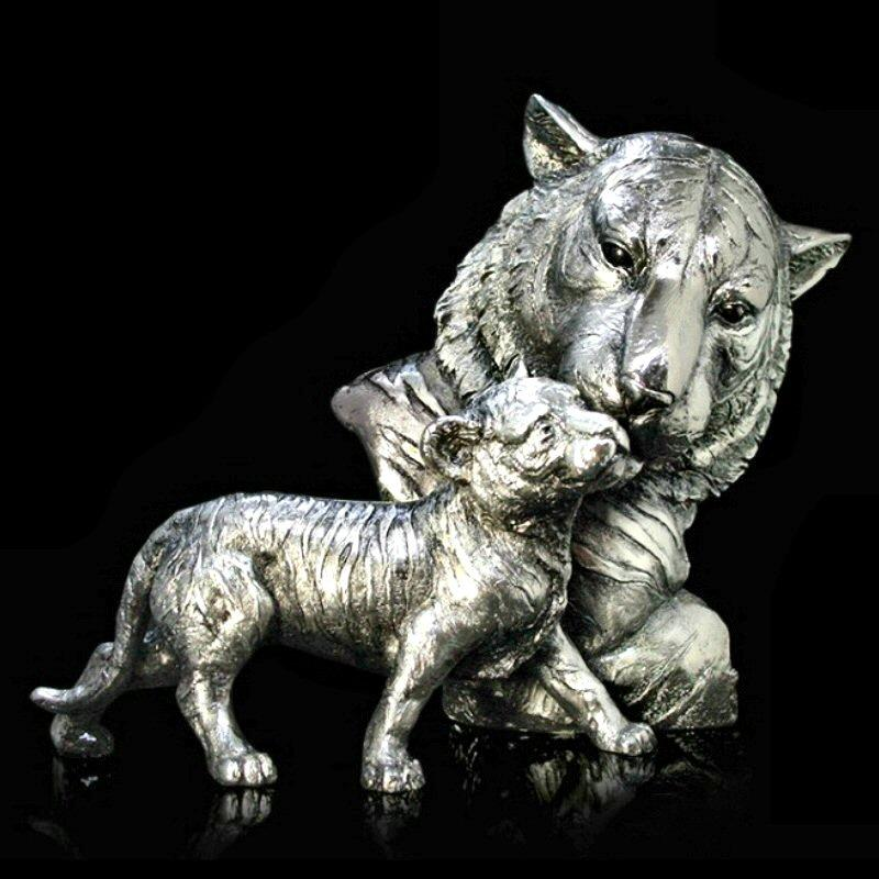 Tiger and Cub - Nickel Plated Sculpture - Keith Sherwin 314NP